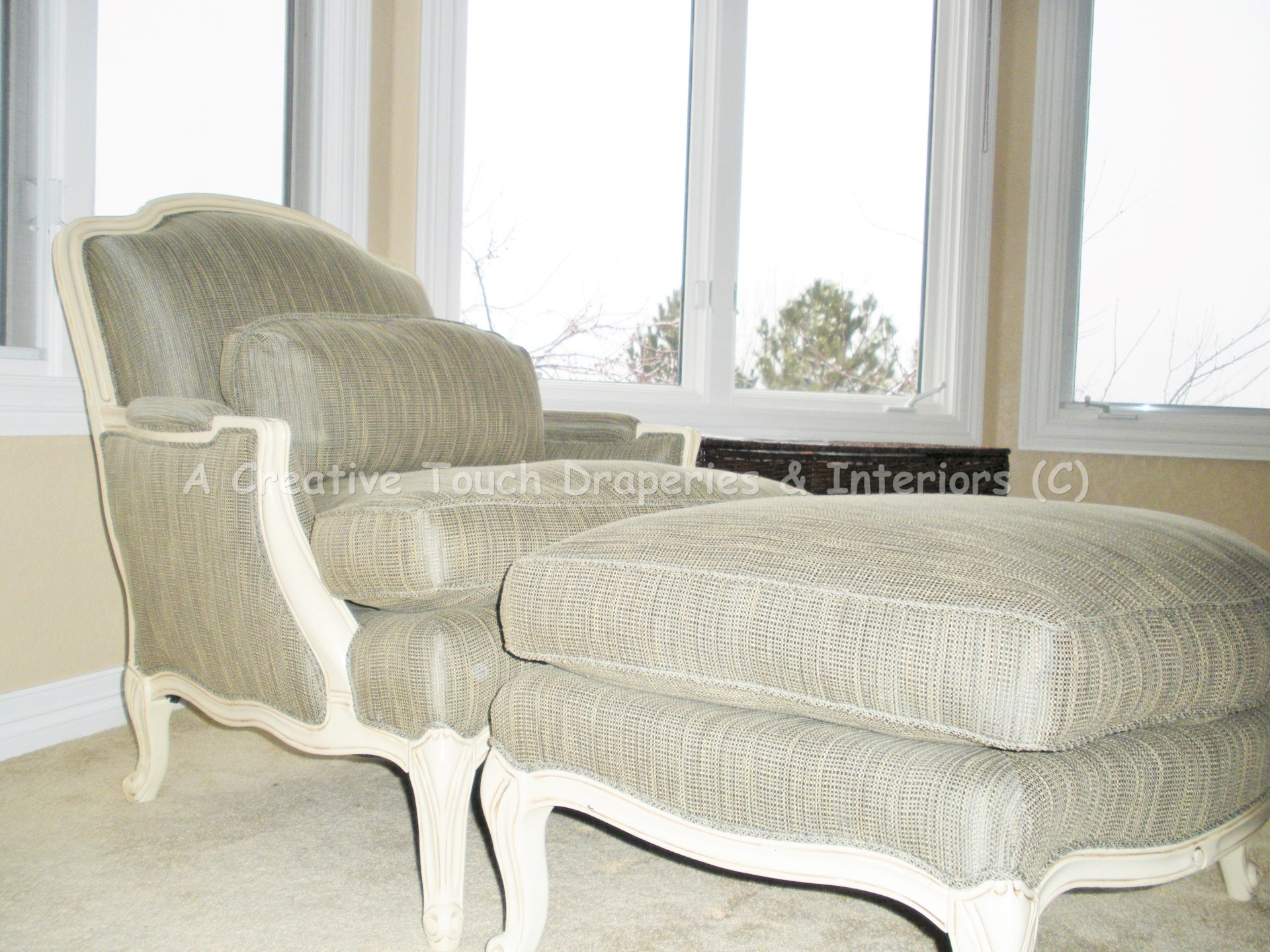 Custom fabric upholstery chair and ottoman