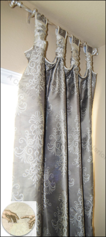 Tab top curtain panels in dining room